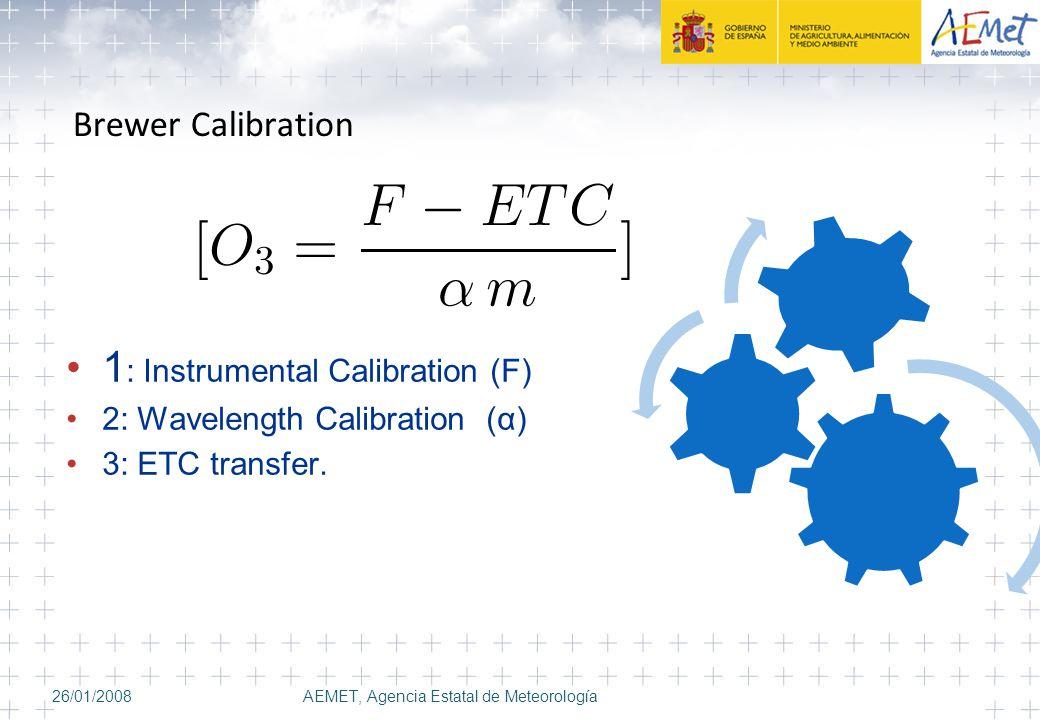 Brewer Calibration 26/01/2008AEMET, Agencia Estatal de Meteorología 1 : Instrumental Calibration (F) 2: Wavelength Calibration (α) 3: ETC transfer.