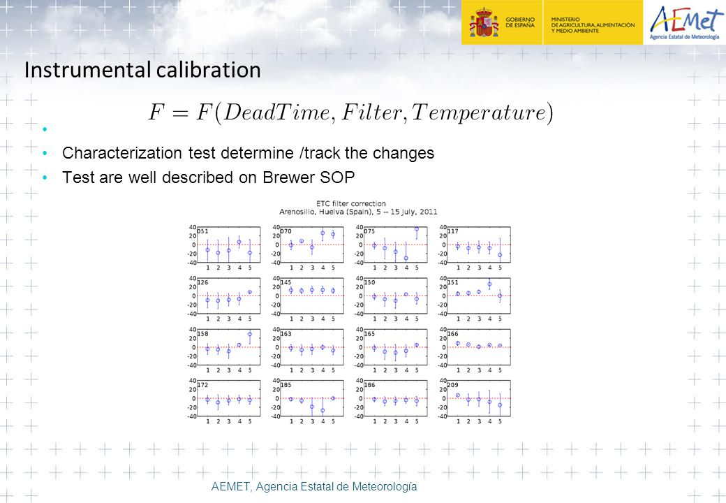 Instrumental calibration Characterization test determine /track the changes Test are well described on Brewer SOP AEMET, Agencia Estatal de Meteorolog