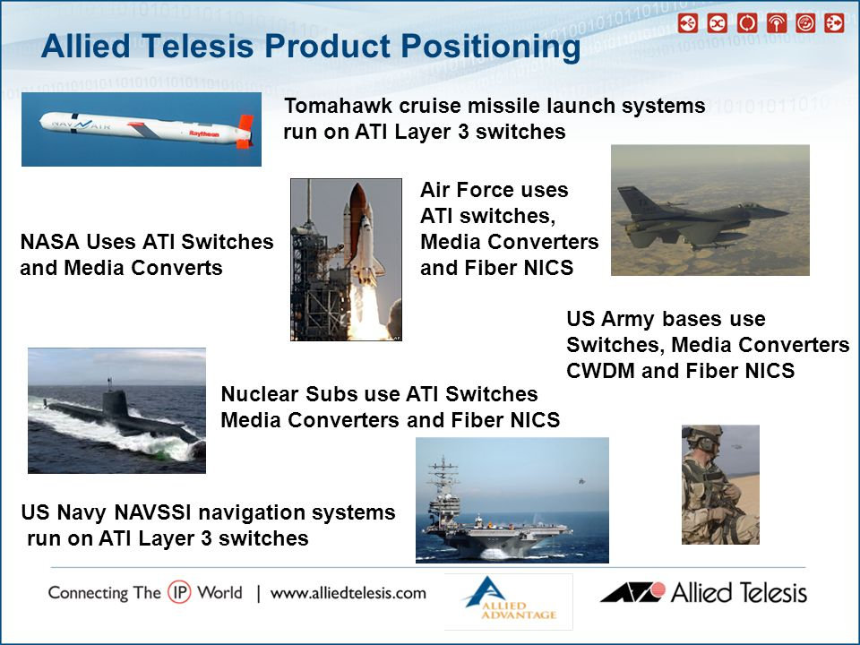 Allied Telesis Product Positioning Tomahawk cruise missile launch systems run on ATI Layer 3 switches US Navy NAVSSI navigation systems run on ATI Layer 3 switches NASA Uses ATI Switches and Media Converts Nuclear Subs use ATI Switches Media Converters and Fiber NICS Air Force uses ATI switches, Media Converters and Fiber NICS US Army bases use Switches, Media Converters CWDM and Fiber NICS