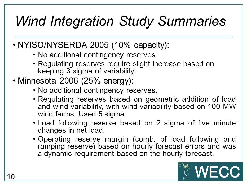 10 NYISO/NYSERDA 2005 (10% capacity): No additional contingency reserves. Regulating reserves require slight increase based on keeping 3 sigma of vari