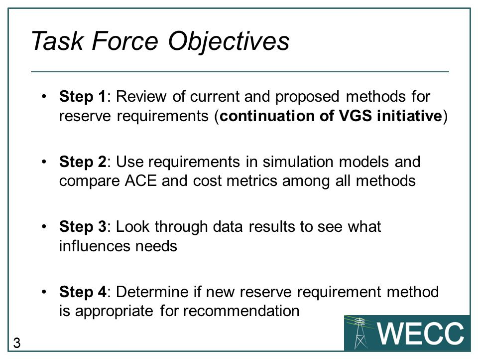 3 Step 1: Review of current and proposed methods for reserve requirements (continuation of VGS initiative) Step 2: Use requirements in simulation mode