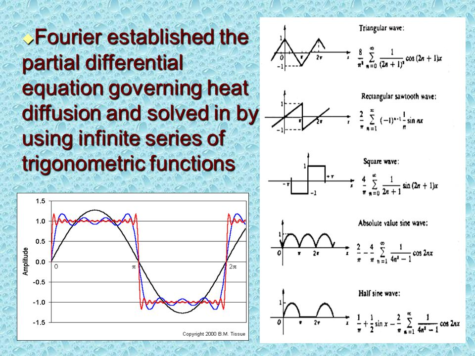  Fourier established the partial differential equation governing heat diffusion and solved in by using infinite series of trigonometric functions