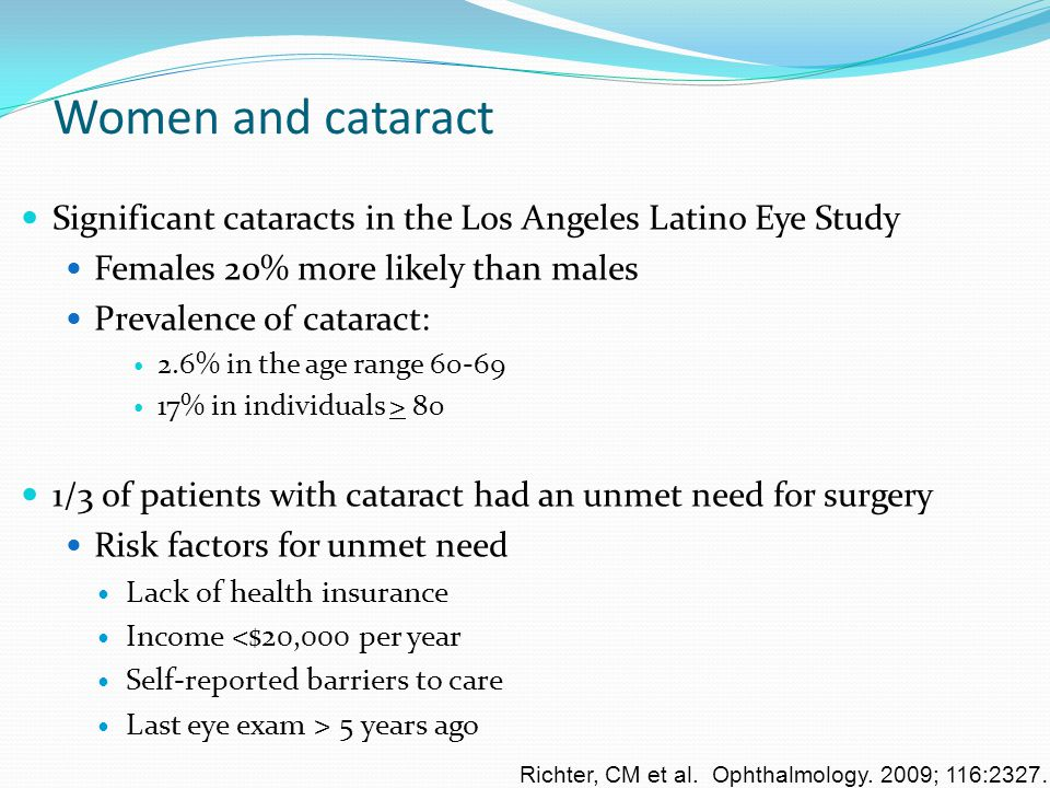 Women and cataract Significant cataracts in the Los Angeles Latino Eye Study Females 20% more likely than males Prevalence of cataract: 2.6% in the ag