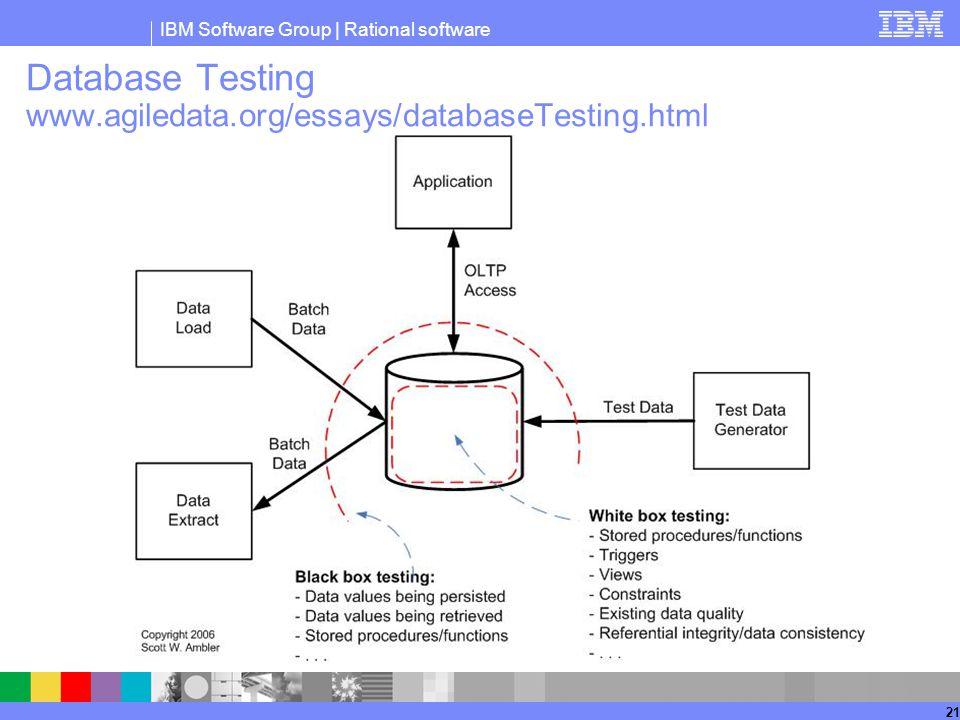 IBM Software Group | Rational software 21 Database Testing www.agiledata.org/essays/databaseTesting.html
