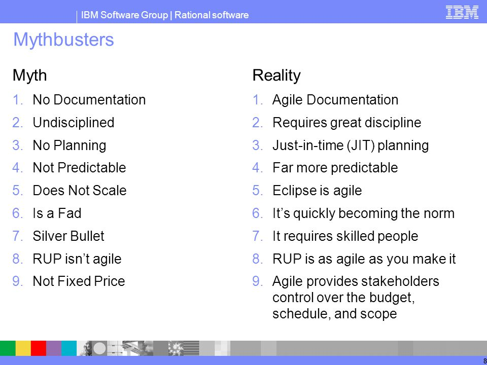 IBM Software Group | Rational software 8 Mythbusters Myth 1.No Documentation 2.Undisciplined 3.No Planning 4.Not Predictable 5.Does Not Scale 6.Is a Fad 7.Silver Bullet 8.RUP isn't agile 9.Not Fixed Price Reality 1.Agile Documentation 2.Requires great discipline 3.Just-in-time (JIT) planning 4.Far more predictable 5.Eclipse is agile 6.It's quickly becoming the norm 7.It requires skilled people 8.RUP is as agile as you make it 9.Agile provides stakeholders control over the budget, schedule, and scope