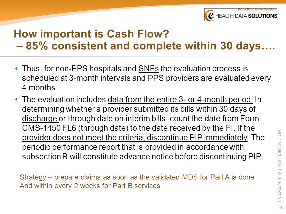 17 | 8/25/2014 | © eHealth Data Solutions 17 | 8/25/2014 | © eHealth Data Solutions How important is Cash Flow? – 85% consistent and complete within 3