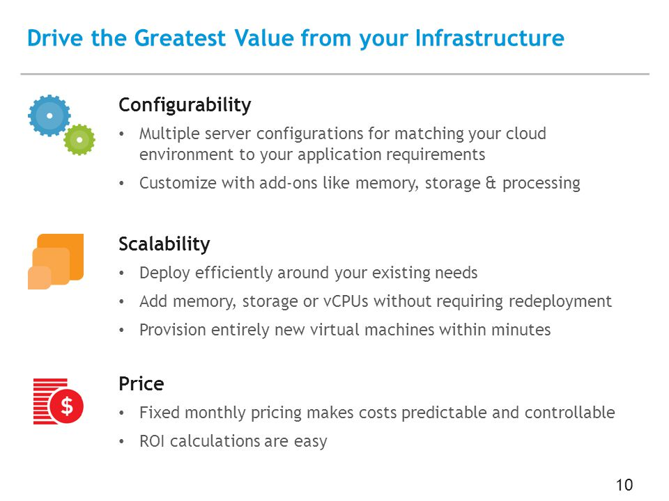 10 Drive the Greatest Value from your Infrastructure Configurability Multiple server configurations for matching your cloud environment to your application requirements Customize with add-ons like memory, storage & processing Scalability Deploy efficiently around your existing needs Add memory, storage or vCPUs without requiring redeployment Provision entirely new virtual machines within minutes Price Fixed monthly pricing makes costs predictable and controllable ROI calculations are easy