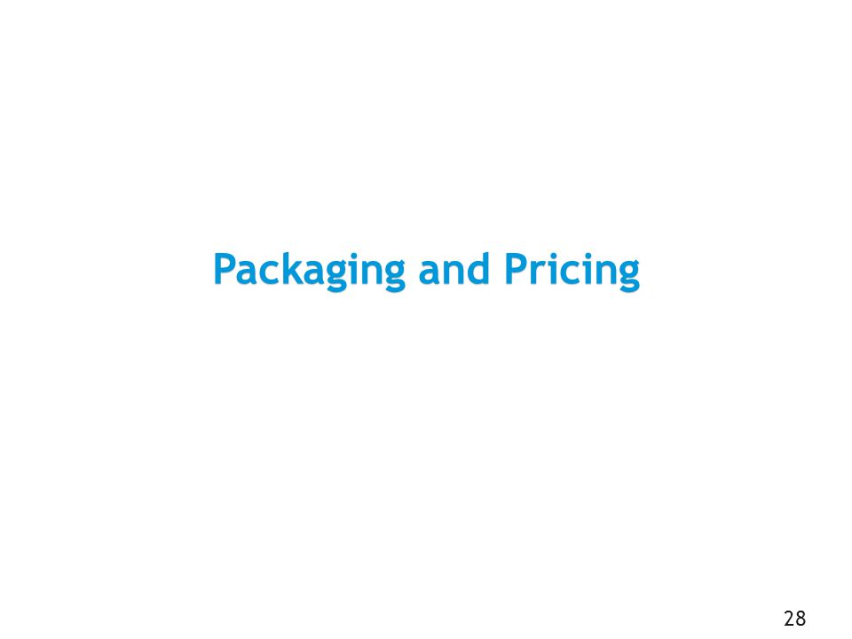 Packaging and Pricing 28