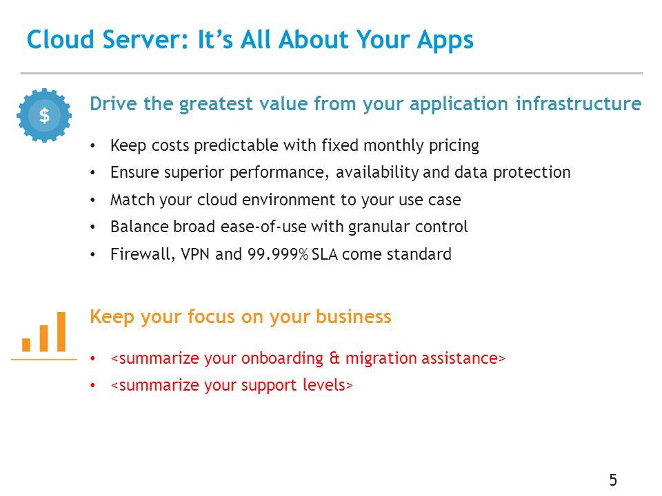 Cloud Server: It's All About Your Apps 6 Cloud Server vs.