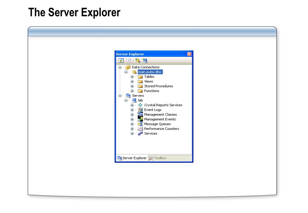 The Server Explorer