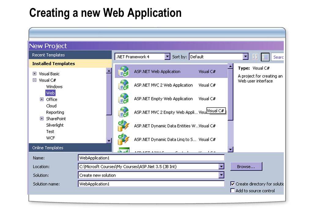 Creating a new Web Application
