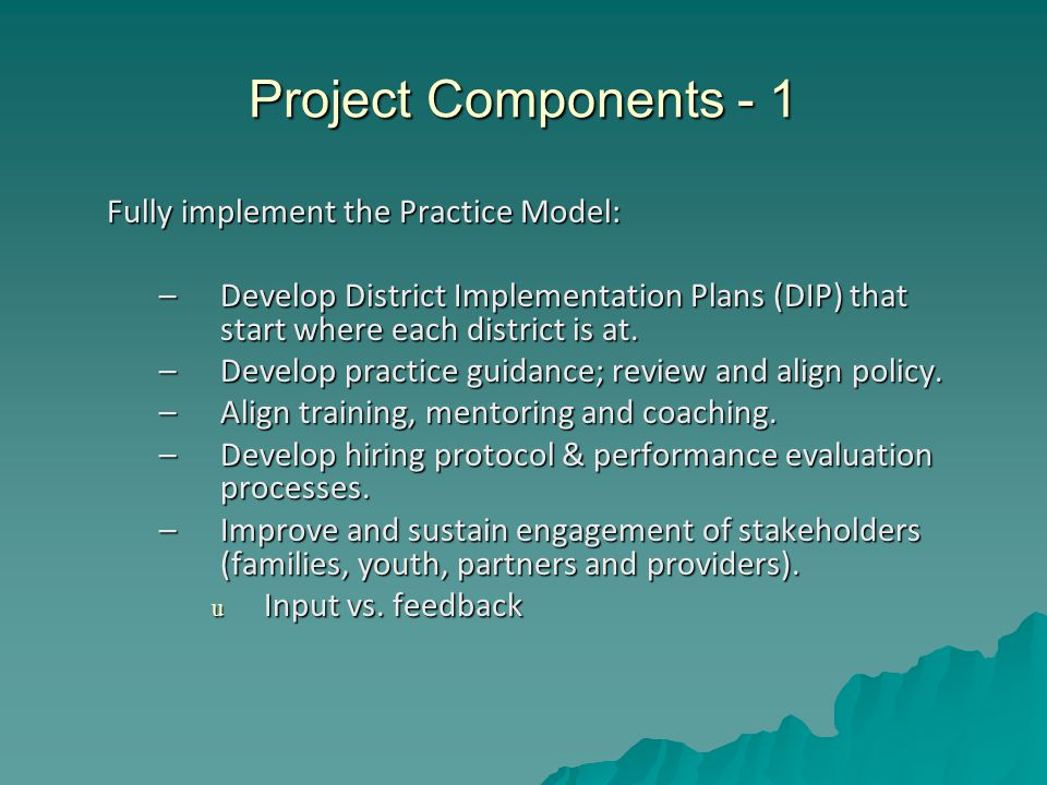Project Components - 1 Fully implement the Practice Model: –Develop District Implementation Plans (DIP) that start where each district is at.