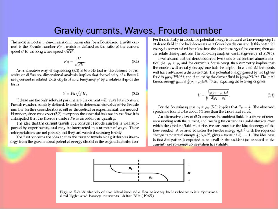 Gravity currents, Waves, Froude number