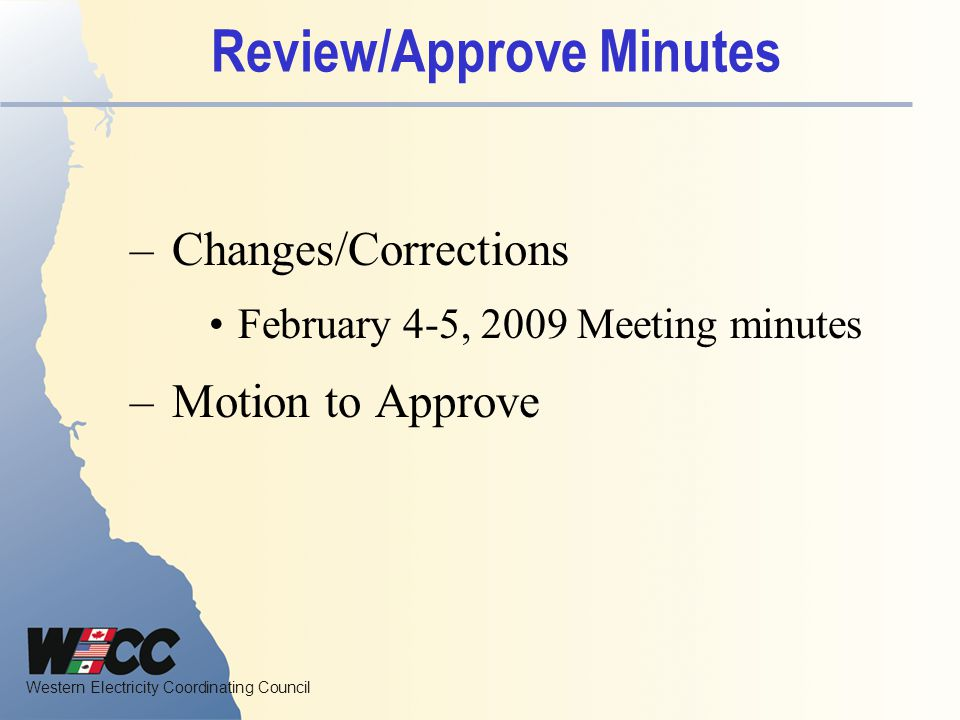 Western Electricity Coordinating Council Review Action Items 1320 Tice