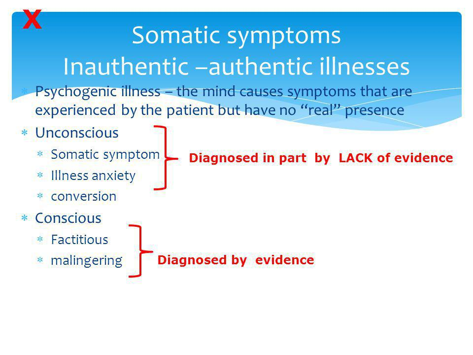 """Somatic symptoms Inauthentic –authentic illnesses  Psychogenic illness – the mind causes symptoms that are experienced by the patient but have no """"re"""