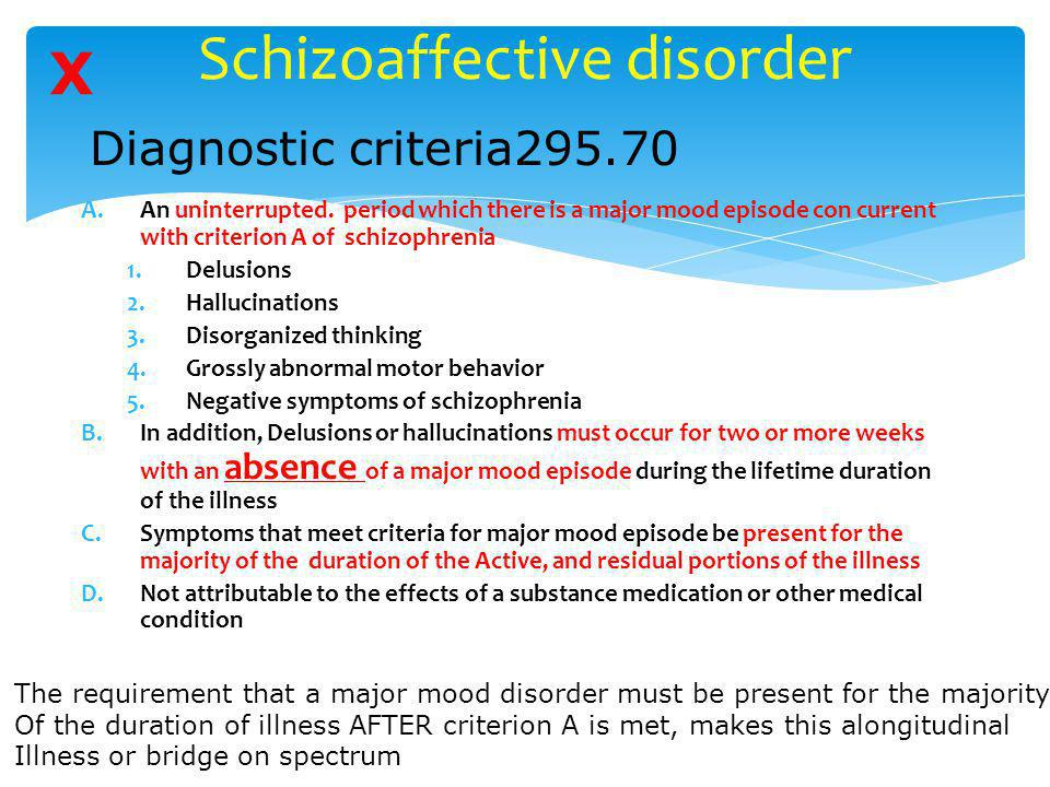 Schizoaffective disorder A.An uninterrupted. period which there is a major mood episode con current with criterion A of schizophrenia 1.Delusions 2.Ha