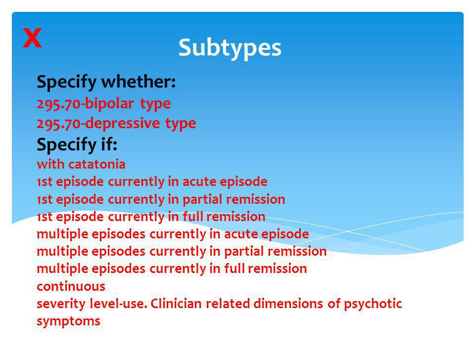 Specify whether: 295.70-bipolar type 295.70-depressive type Specify if: with catatonia 1st episode currently in acute episode 1st episode currently in