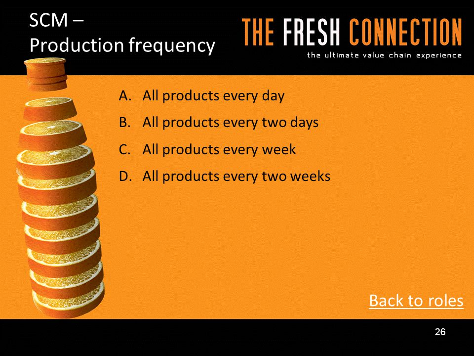 A.All products every day B.All products every two days C.All products every week D.All products every two weeks SCM – Production frequency Back to rol