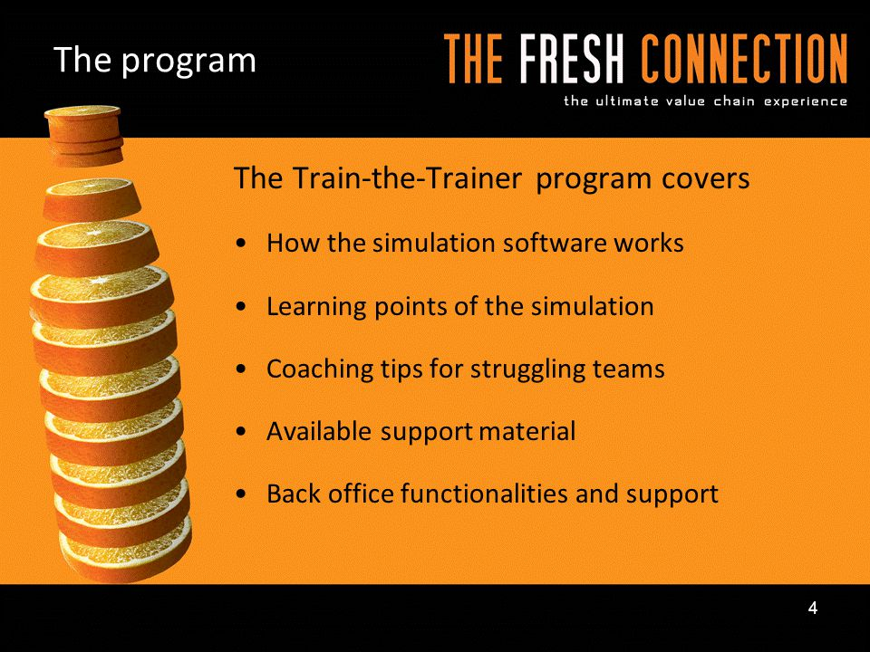 The program The Train-the-Trainer program covers How the simulation software works Learning points of the simulation Coaching tips for struggling team