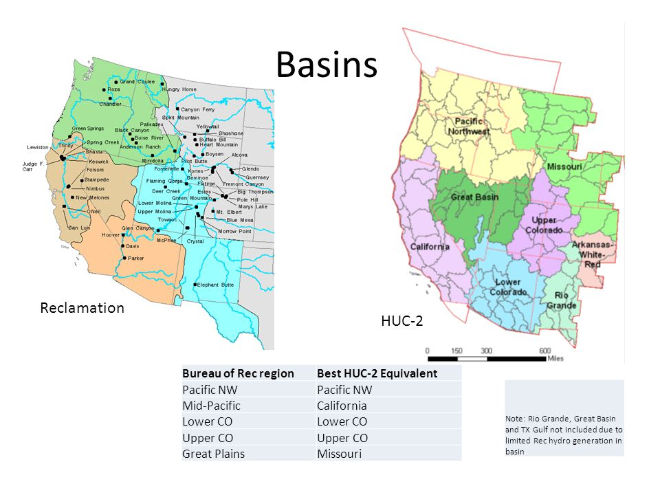 HUC-2 Reclamation Bureau of Rec regionBest HUC-2 Equivalent Pacific NW Mid-PacificCalifornia Lower CO Upper CO Great PlainsMissouri Basins Note: Rio Grande, Great Basin and TX Gulf not included due to limited Rec hydro generation in basin