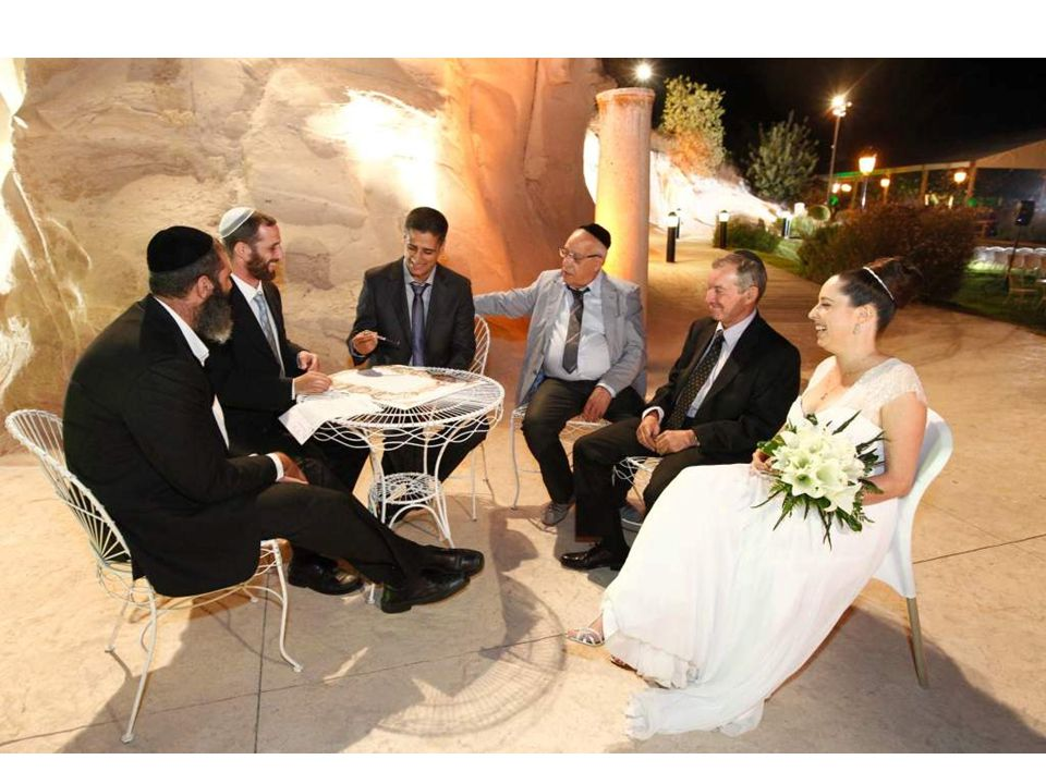 Signing of the Ketubah, the marriage contract The Ketubah is signed by two appointed witnesses, who are not blood related family members to the bride and groom.