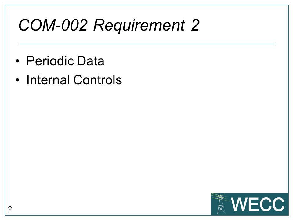 2 Periodic Data Internal Controls COM-002 Requirement 2