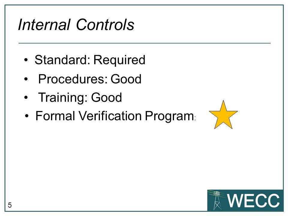 5 Standard: Required Internal Controls Procedures: Good Training: Good Formal Verification Program :