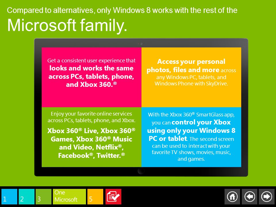 Compared to alternatives, only Windows 8 works with the rest of the Microsoft family. Get a consistent user experience that looks and works the same a
