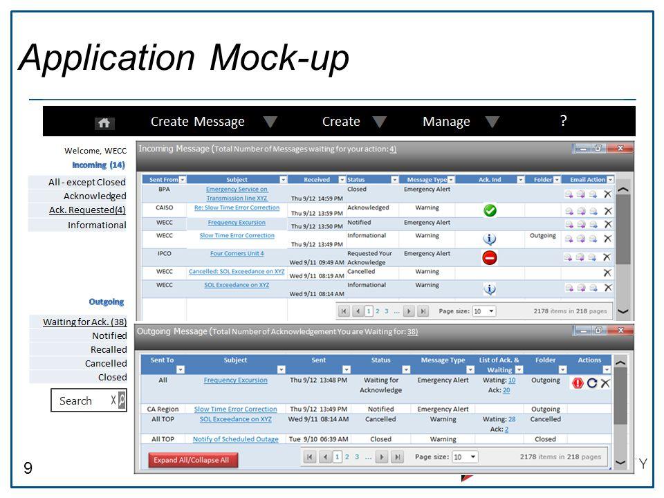9 Application Mock-up