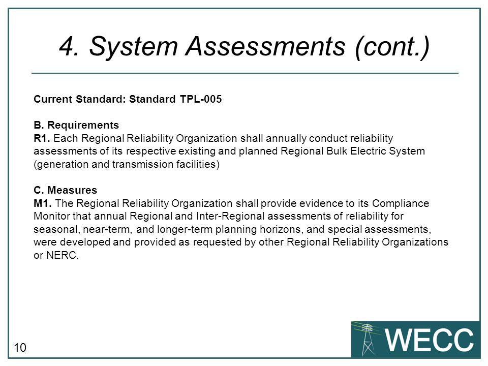 10 4. System Assessments (cont.) Current Standard: Standard TPL-005 B.