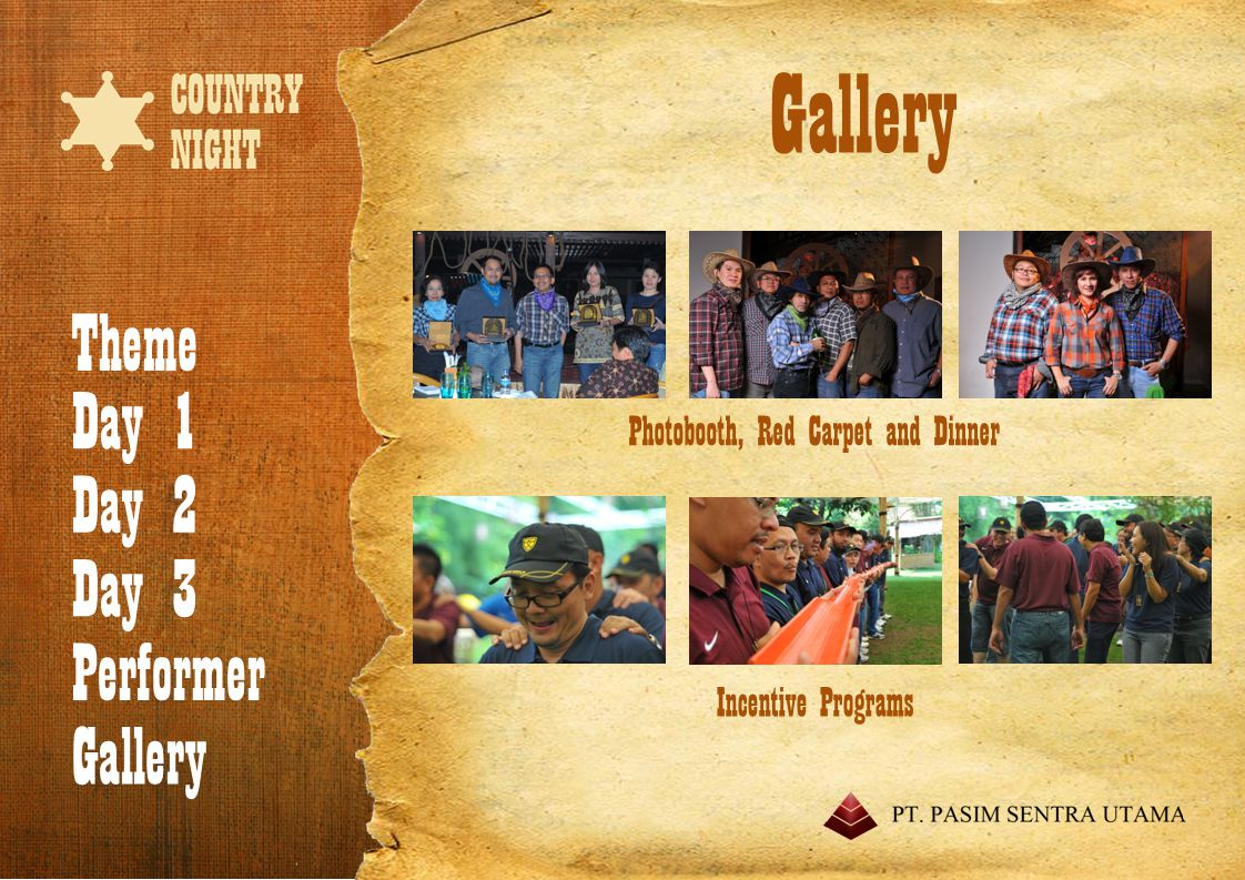Theme Day 1 Day 2 Day 3 Performer Gallery Performer Usher Bandung Country Band MC Saung Angklung Mang Udjo