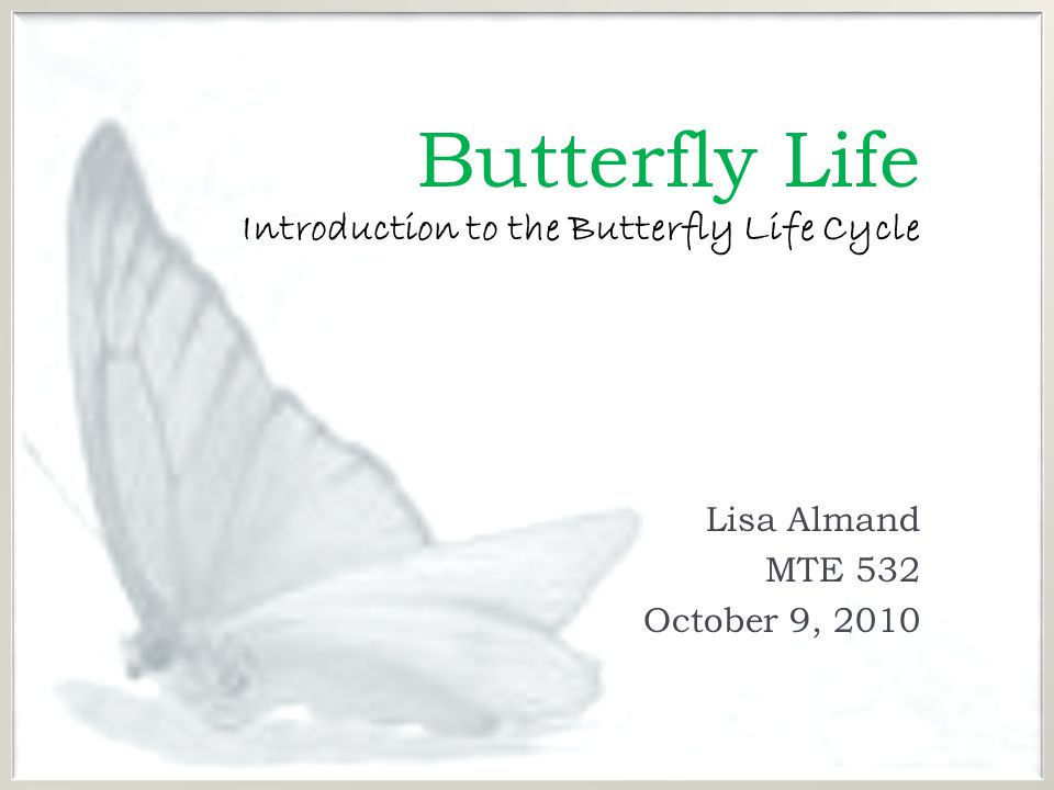 Butterfly Life Introduction to the Butterfly Life Cycle Lisa Almand MTE 532 October 9, 2010