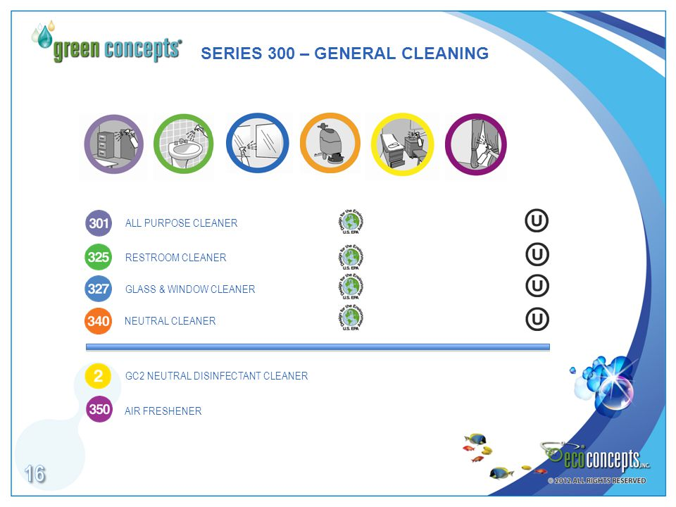 SERIES 300 – GENERAL CLEANING RESTROOM CLEANER GLASS & WINDOW CLEANER NEUTRAL CLEANER ALL PURPOSE CLEANER GC2 NEUTRAL DISINFECTANT CLEANER AIR FRESHENER