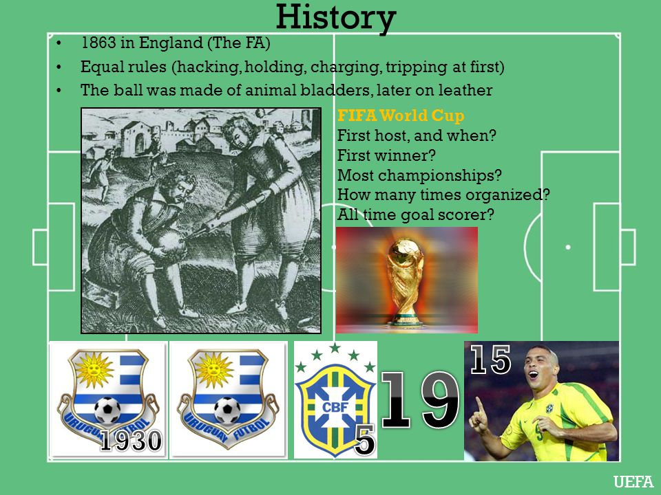 1863 in England (The FA) Equal rules (hacking, holding, charging, tripping at first) The ball was made of animal bladders, later on leather FIFA World Cup First host, and when.