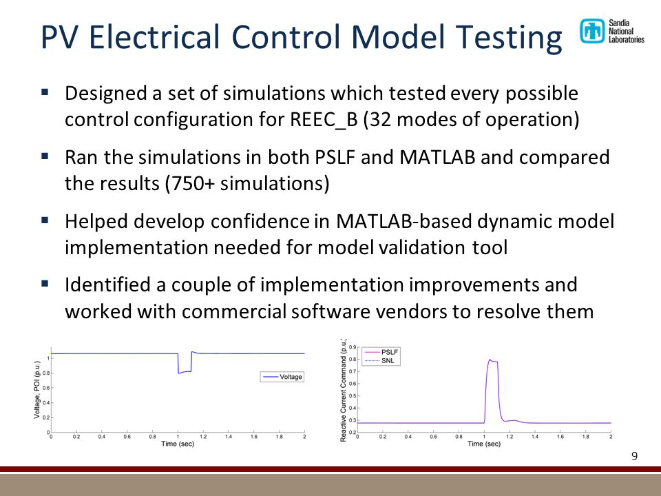 PV Electrical Control Model Testing 9  Designed a set of simulations which tested every possible control configuration for REEC_B (32 modes of operation)  Ran the simulations in both PSLF and MATLAB and compared the results (750+ simulations)  Helped develop confidence in MATLAB-based dynamic model implementation needed for model validation tool  Identified a couple of implementation improvements and worked with commercial software vendors to resolve them