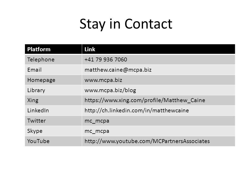 PlatformLink Telephone+41 79 936 7060 Emailmatthew.caine@mcpa.biz Homepagewww.mcpa.biz Librarywww.mcpa.biz/blog Xinghttps://www.xing.com/profile/Matthew_Caine LinkedInhttp://ch.linkedin.com/in/matthewcaine Twittermc_mcpa Skypemc_mcpa YouTubehttp://www.youtube.com/MCPartnersAssociates Stay in Contact
