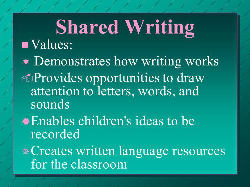 Shared Writing n n Values: ¬ ¬ Demonstrates how writing works ­ ­ Provides opportunities to draw attention to letters, words, and sounds ® ® Enables children s ideas to be recorded ¯ ¯ Creates written language resources for the classroom