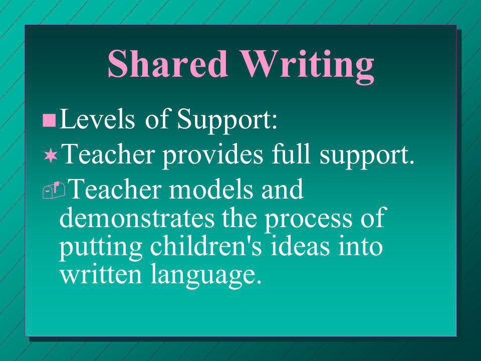 Interactive Writing n n Teacher & children compose messages & stories that are written using a shared pen technique that involves children in the writing.