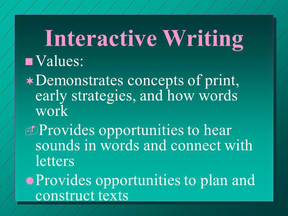 Interactive Writing ¯ ¯ Helps children understand building up and breaking down processes in reading and writing ° ° Increases spelling knowledge ± ± Provides texts that children can read independently ² ² Provides written language resources in the classroom