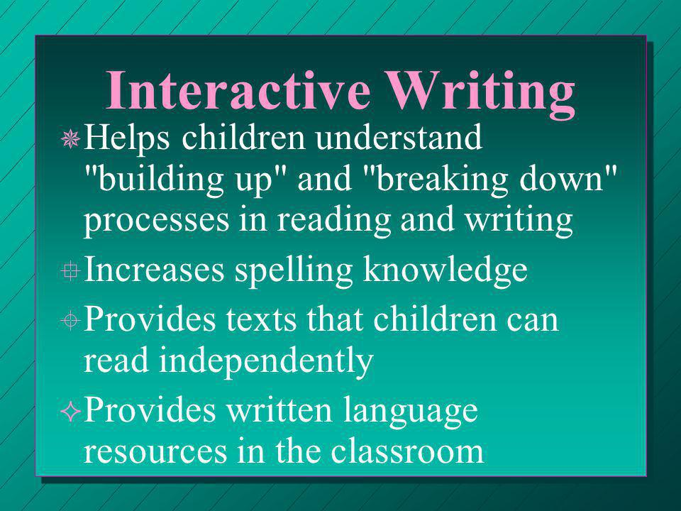 Interactive Writing n n Levels of Support: ¬ ¬ There is a high level of teacher support.