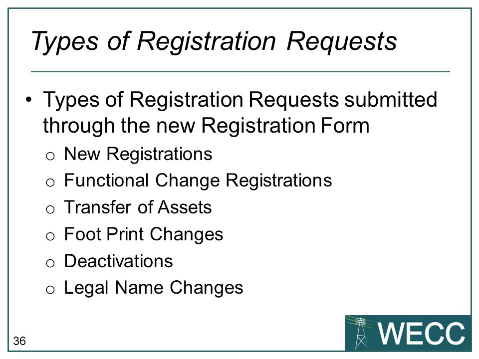 36 Types of Registration Requests submitted through the new Registration Form o New Registrations o Functional Change Registrations o Transfer of Asse