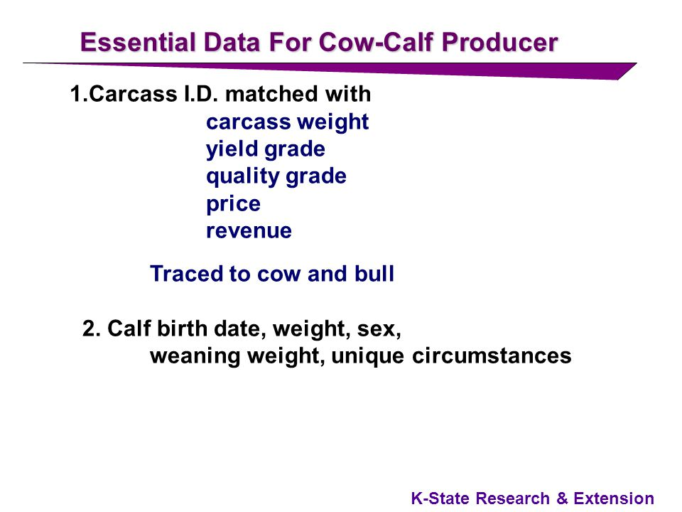 K-State Research & Extension Conclusions Target Cattle With Specific Attributes to the Right Grid at the Right Time Manage cattle aggressively Market cattle before they are Y4-Y5 and have heavy carcasses Sell high quality cattle on a Quality Grid Sell high yielding cattle on a Yield Grid