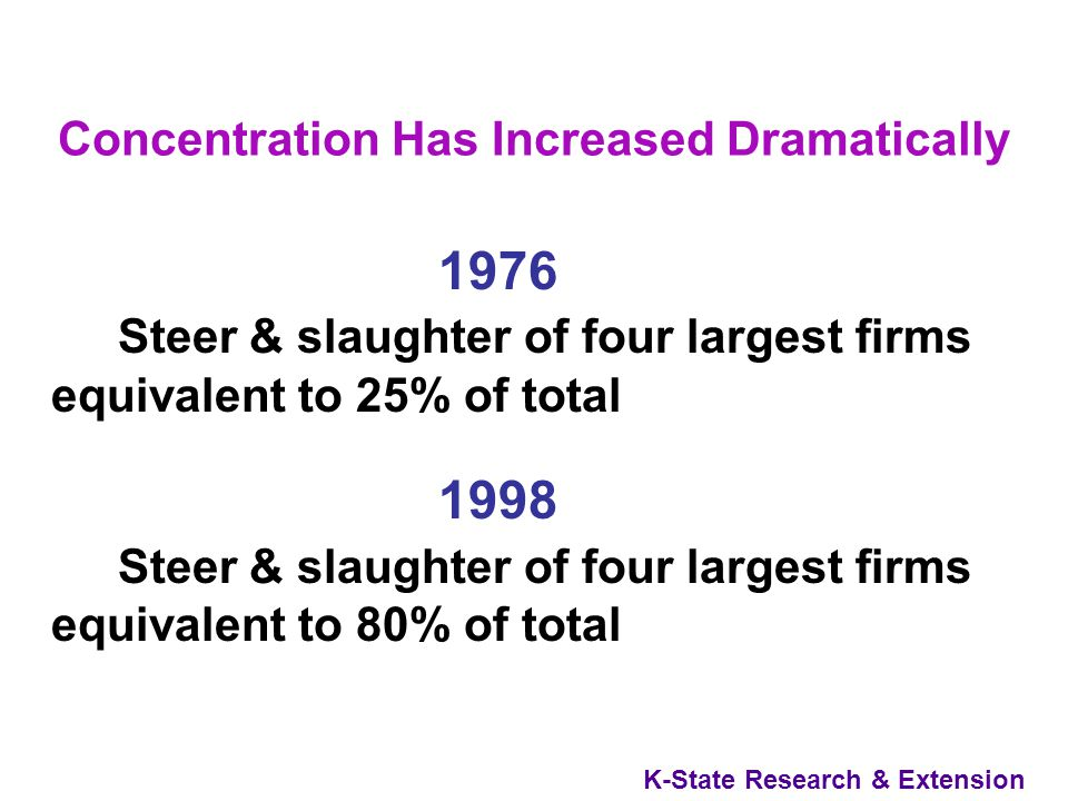K-State Research & Extension Concentration Has Increased Dramatically 1998 38 steer and heifer slaughter plants with capacity greater than 50,000 head Slaughtered a total of 26.7 million head 14 plants slaughtering more than 1,000,000 head, accounted for 67% of slaughter Average slaughter in large plants nearly doubled from 1976 to 1998