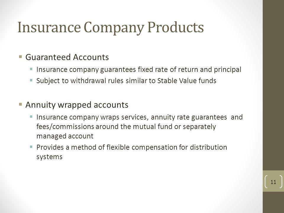 Insurance Company Products  Guaranteed Accounts  Insurance company guarantees fixed rate of return and principal  Subject to withdrawal rules simil