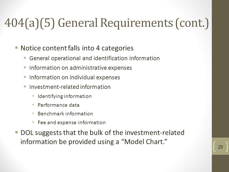 404(a)(5) General Requirements (cont.)  Notice content falls into 4 categories  General operational and identification information  Information on