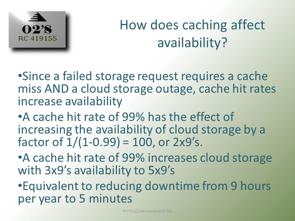 How does caching affect availability.