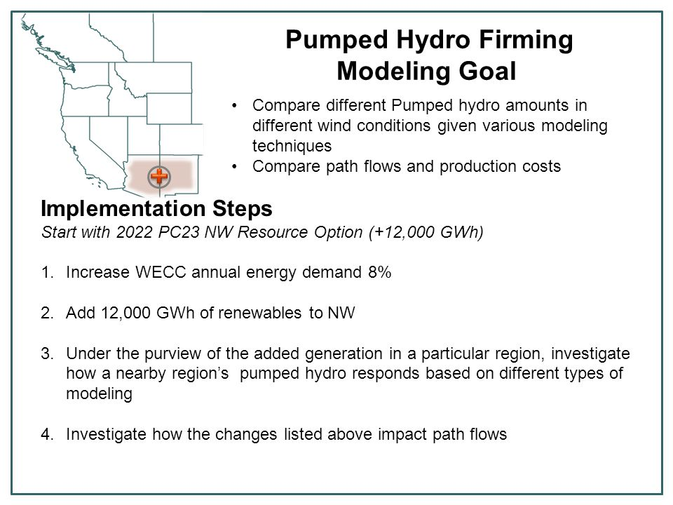 Pumped Hydro Firming Modeling Goal Compare different Pumped hydro amounts in different wind conditions given various modeling techniques Compare path flows and production costs Implementation Steps Start with 2022 PC23 NW Resource Option (+12,000 GWh) 1.Increase WECC annual energy demand 8% 2.Add 12,000 GWh of renewables to NW 3.Under the purview of the added generation in a particular region, investigate how a nearby region's pumped hydro responds based on different types of modeling 4.Investigate how the changes listed above impact path flows