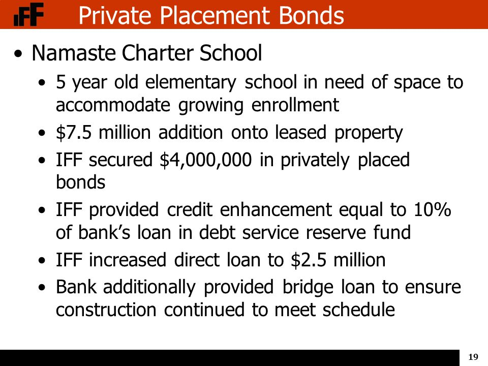19 Private Placement Bonds Namaste Charter School 5 year old elementary school in need of space to accommodate growing enrollment $7.5 million addition onto leased property IFF secured $4,000,000 in privately placed bonds IFF provided credit enhancement equal to 10% of bank's loan in debt service reserve fund IFF increased direct loan to $2.5 million Bank additionally provided bridge loan to ensure construction continued to meet schedule