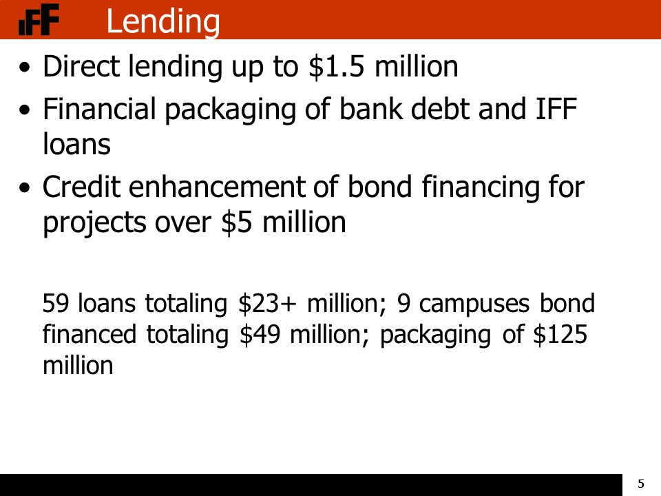 5 Lending Direct lending up to $1.5 million Financial packaging of bank debt and IFF loans Credit enhancement of bond financing for projects over $5 million 59 loans totaling $23+ million; 9 campuses bond financed totaling $49 million; packaging of $125 million