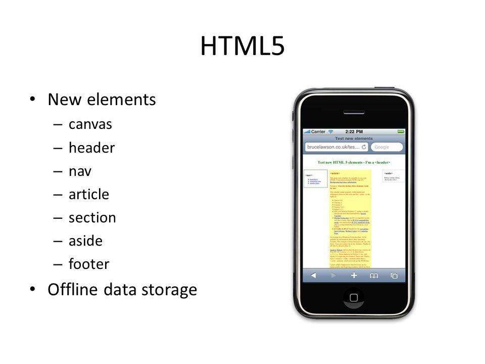 HTML5 New elements – canvas – header – nav – article – section – aside – footer Offline data storage